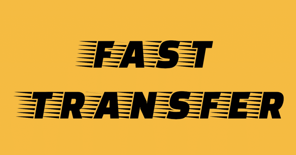 "The words ""fast transfer"" in a stylized font showing speed on a yellow/orange backgorund"