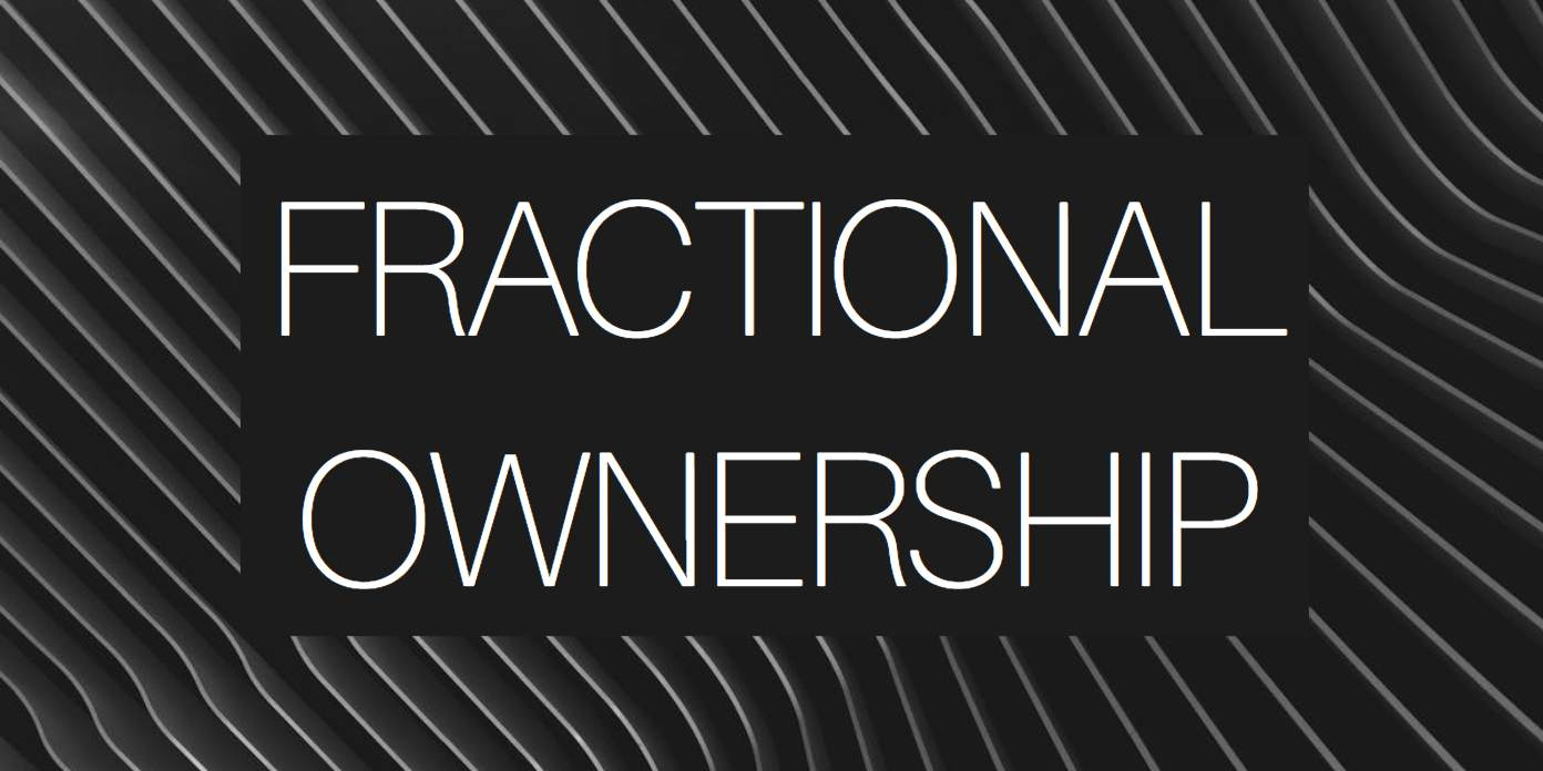 "A black and gray background with angular lines and the words ""fractional ownership"""