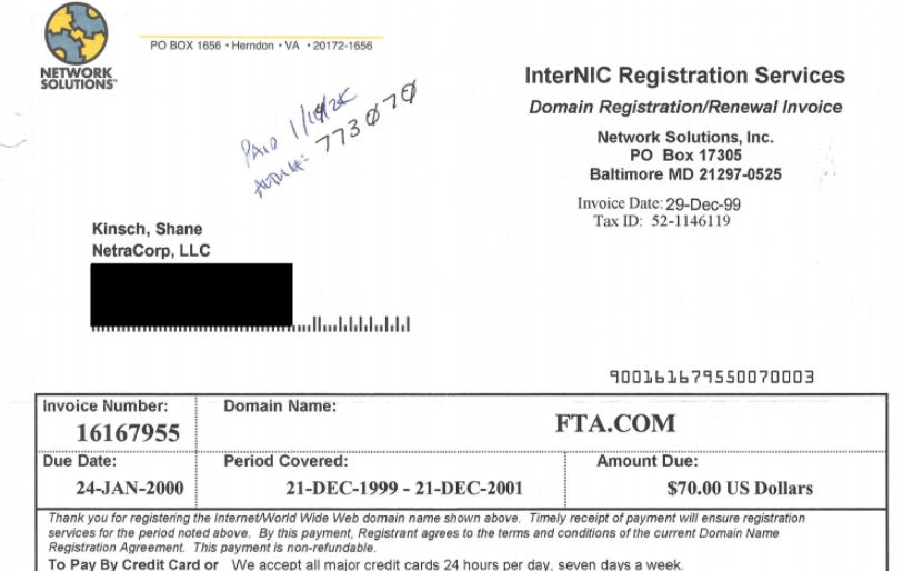 Picture of a Network Solutions receipt from 1999 for the domain FTA.com
