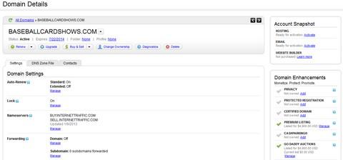 GoDaddy single domain