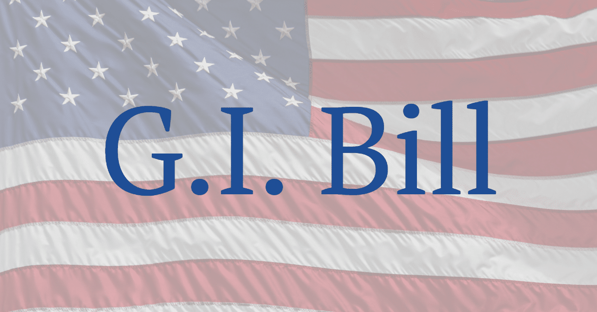 """A picture of the flag of the United States with the words """"G.I.Bill"""""""