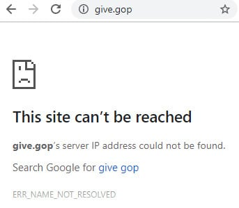 Error page at Give.GOP, which has been taken down