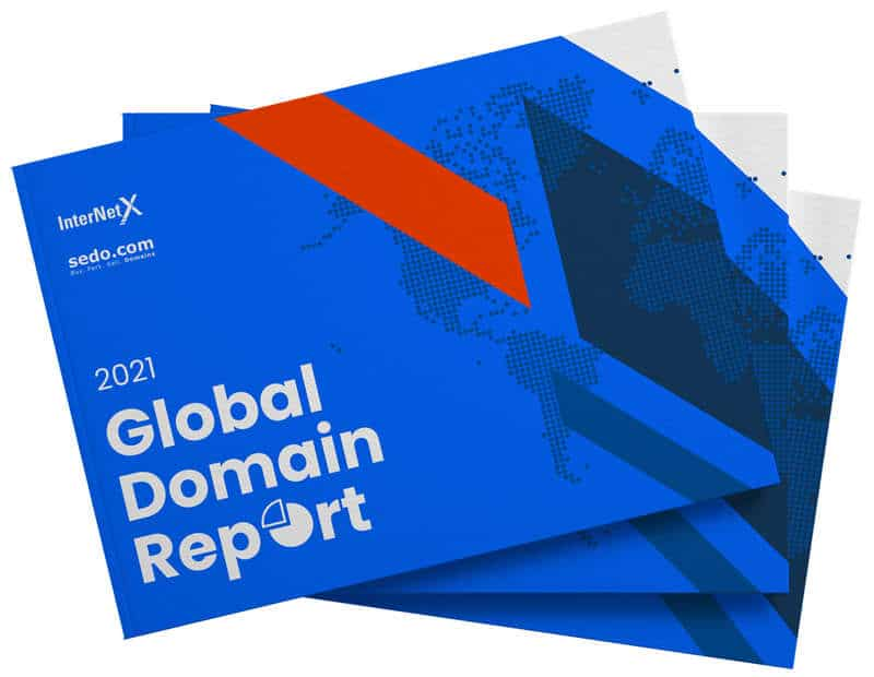 "Image of a report cover with the words ""2021 Global Domain Report"""