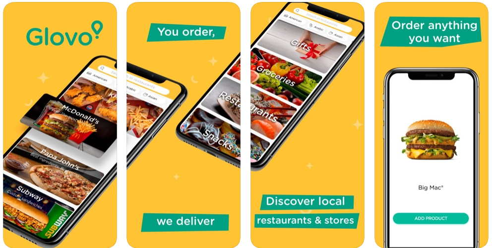 Image of the Glovo delivery app in the Apple Appstore