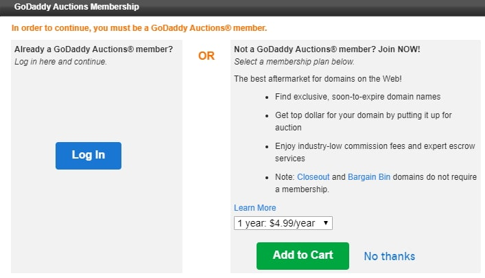 GoDaddy auctions login in interstitial