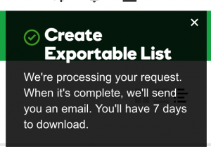 GoDaddy Create Exportable List Notification