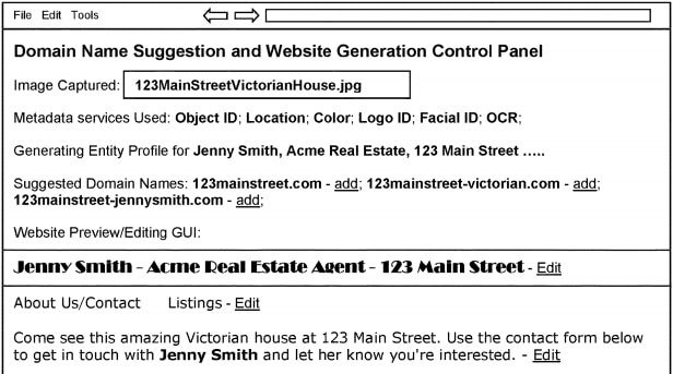 Patent image for GoDaddy patent shows an image being used to generate domain names and a website.