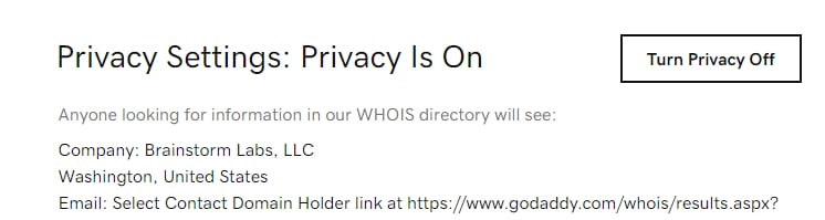 Picture of GoDaddy account setting to change Whois privacy information