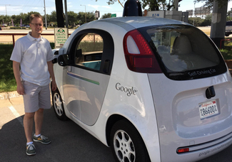 Photo of a Waymo Google driverless car.