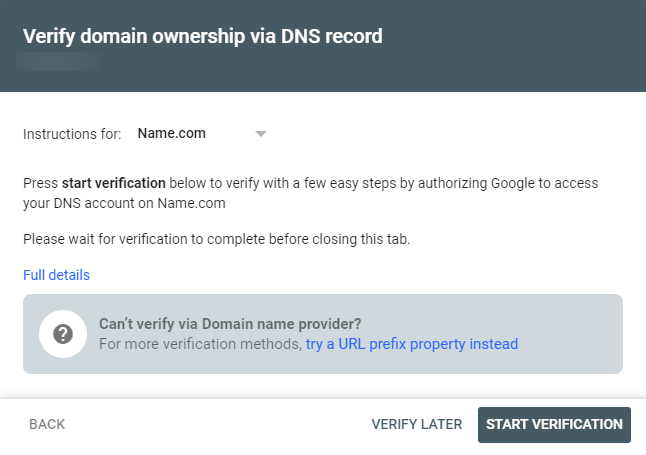 Screenshot showing process of automatically adding TXT record to DNS to verify site on Google Search Console