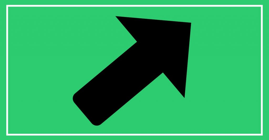 Picture of a black arrow pointing up and to the right on a green background