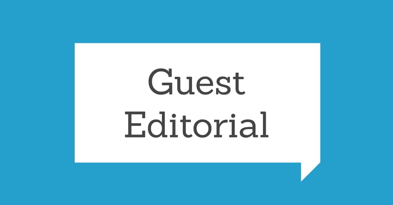 "Blue background with white quote box and the words ""Guest Editorial"""