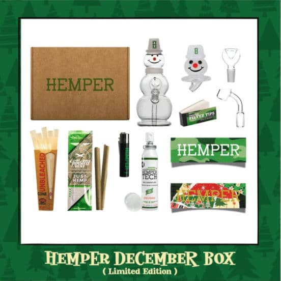Example Hempler subscription box with marijuana-themed products