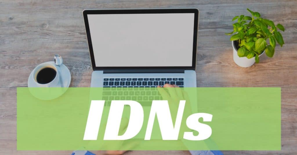 """Image of a computer and cup of coffee with the word """"IDNs"""" overlayed on a green bar"""