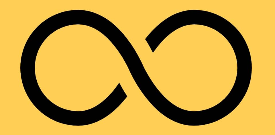 Infinity symbol on yellow background