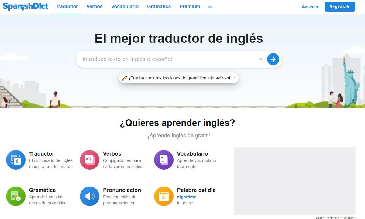 Screenshot of Spanishdict.com
