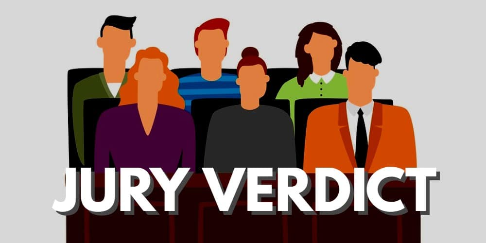 """Picture of a jury illustration with word """"jury verdict"""""""
