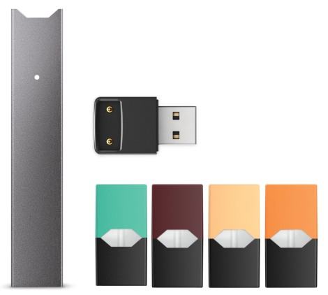 Picture of JUUL vaping products in multiple colors: green, brown, tan and orange