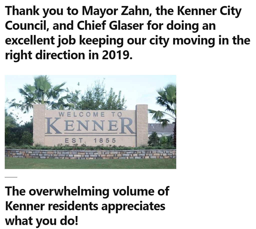 Screenshot of the website citizensforabetterkenner.com