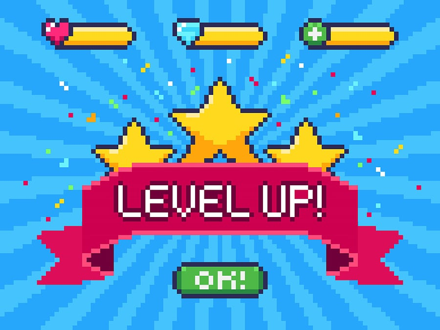 "A video game screen with the words ""Level Up!"""
