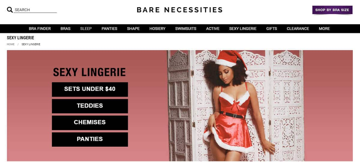 Screenshot of Bare Necessities website when forwarded from Lingerie.com