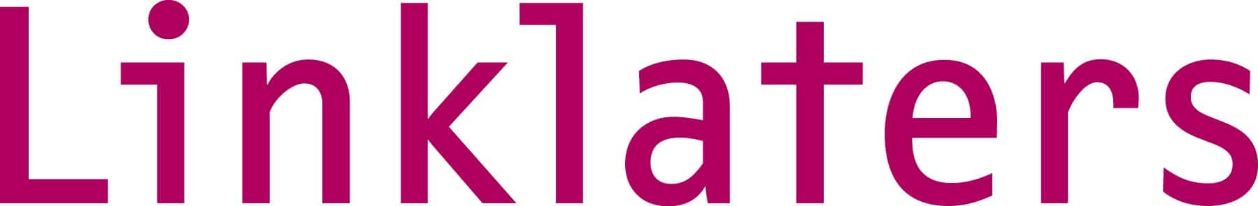 Logo for Linklaters LLP law firm shows the word Linklaters in pink color