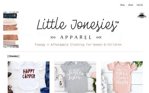 Image of LittleJonesiesCo.com website showing kids clothes