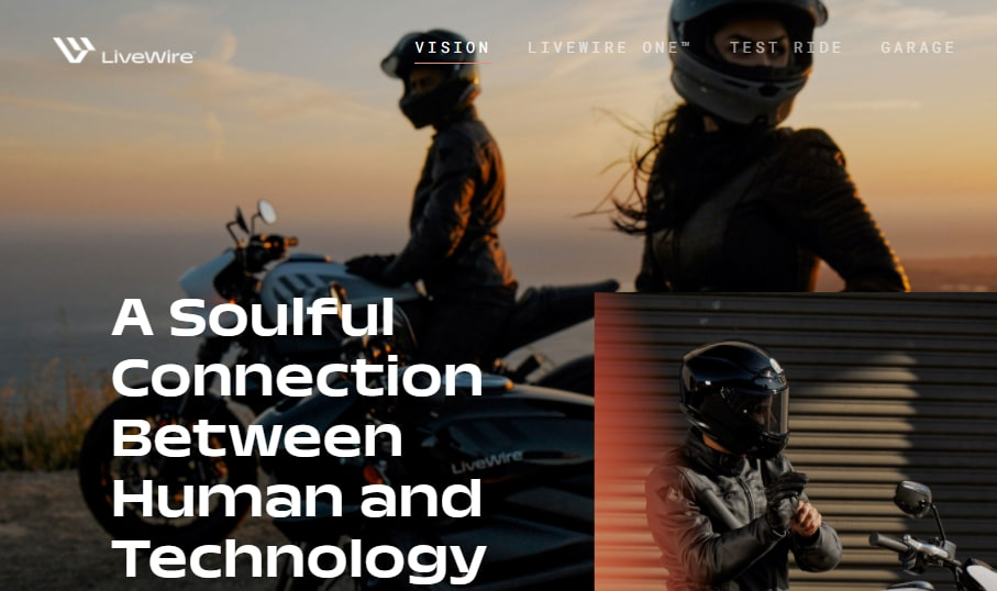 A screenshot of the website for Harley-Davidson LiveWire, showing people sitting on electric motorcycles