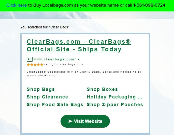 A landing page ad for a Uniregistry parked domain shows an ad for clear bags