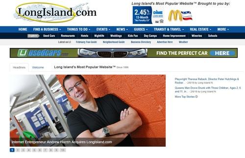 Screenshot of LongIsland.com featuring Andrew Hazen.