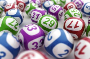 Picture of lottery balls in green, purple, blue and red
