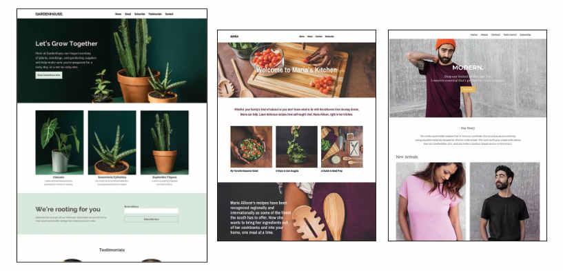 Screenshots of websites built with Mailchimp's new website builder