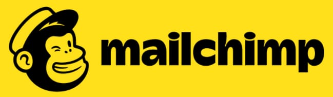 Logo for Mailchimp showing a chimp and the word mailchimp