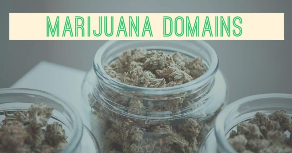 "A picture of jars of marijuana with the words ""marijuana domains"""