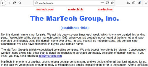 Screenshot of MarTech.com, a website often confused with other websites.