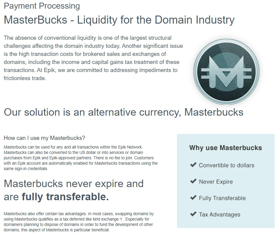A screenshot of Epik's page about Masterbucks