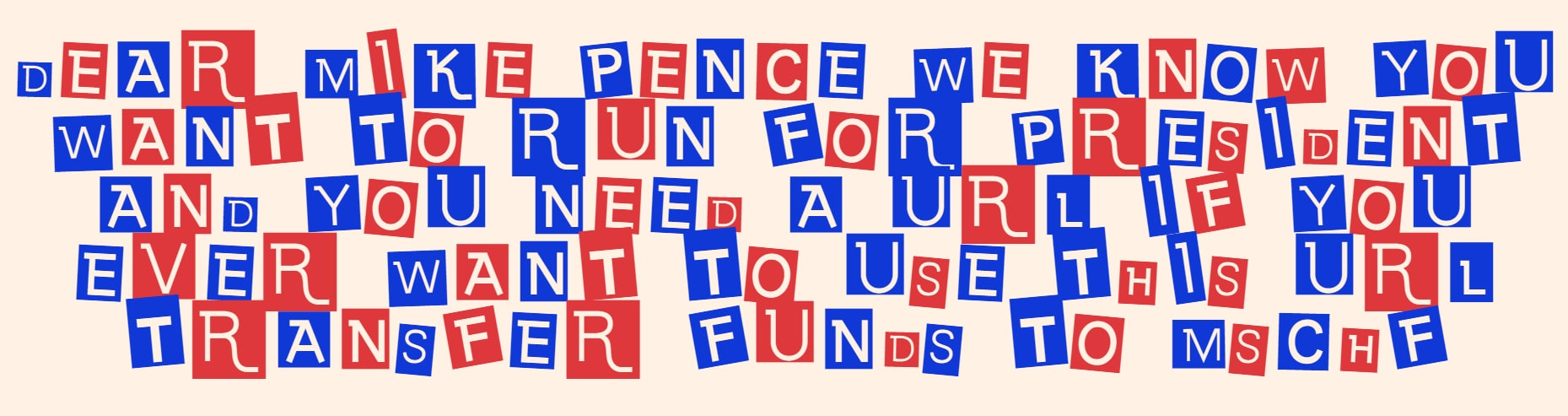 """Screenshot of MSCHF """"ransom note"""" for Mike Pence's domain name"""