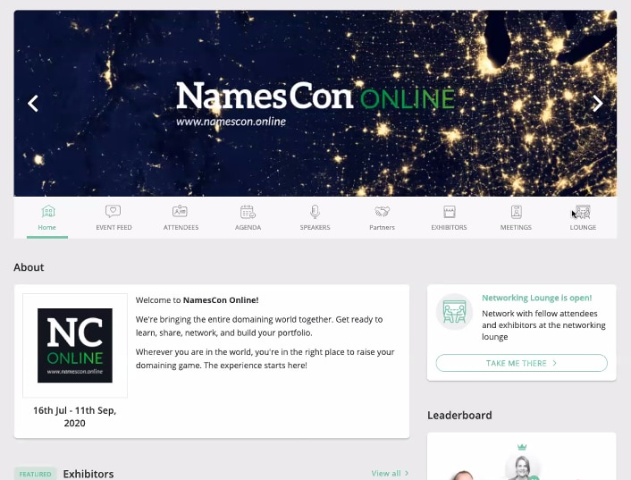 screenshot of NamesCon online virtual event