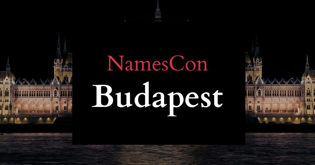"Picture of budapest with the words ""NamesCon Budapest"" in front"