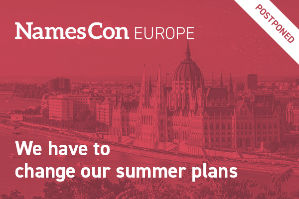 A graphic showing that NamesCon Europe has been postponed
