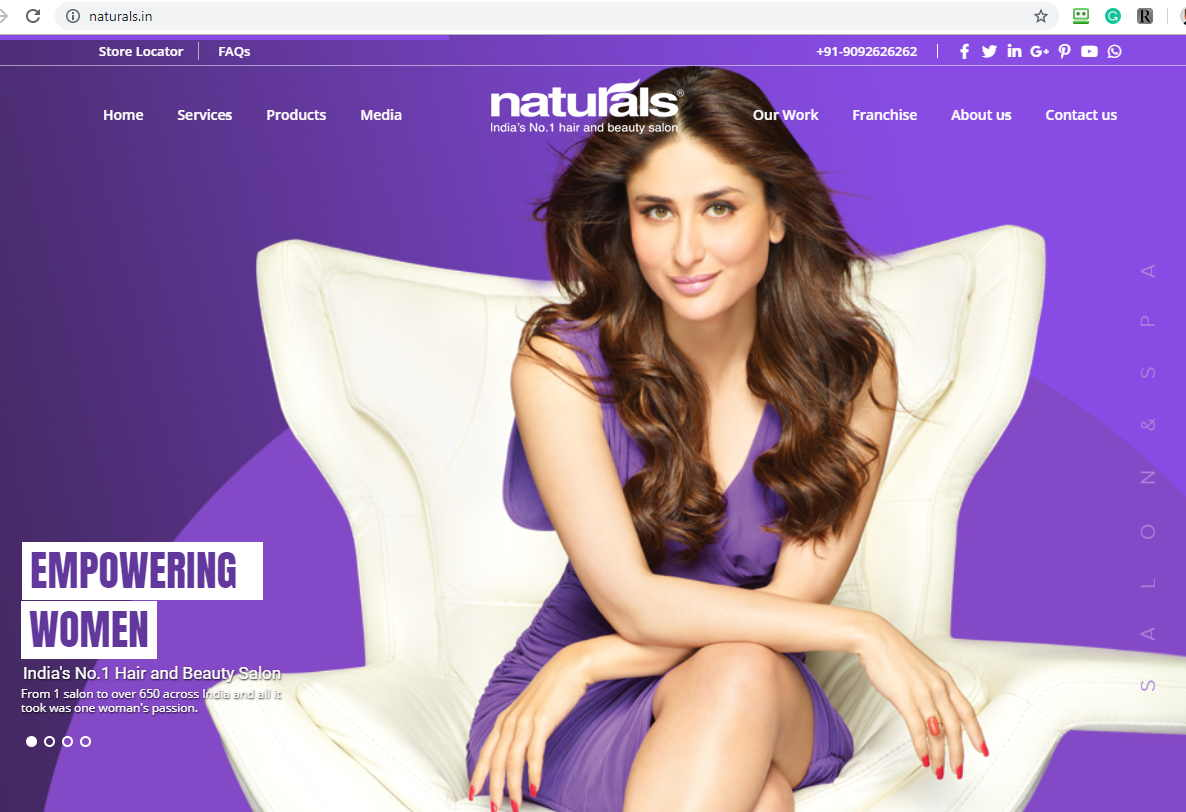 Screenshot for Naturals.in showing a woman sitting on a chair