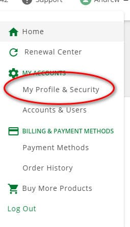 """Image of a drop down menu in Network Solutions for """"My Profile & Security"""""""