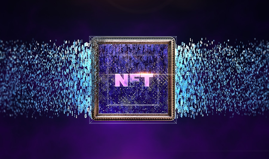 Image of digital artwork with NFT letters standing for non-fungible token