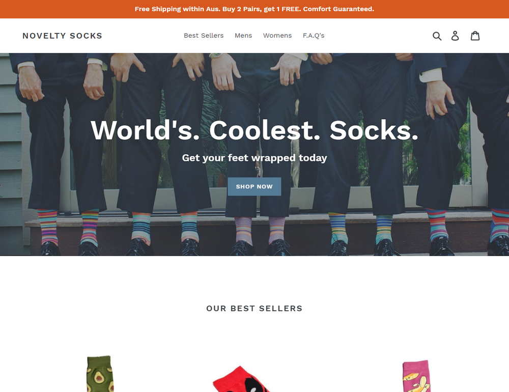 Screenshot of the website at NoveltySocks.com that sells novelty socks