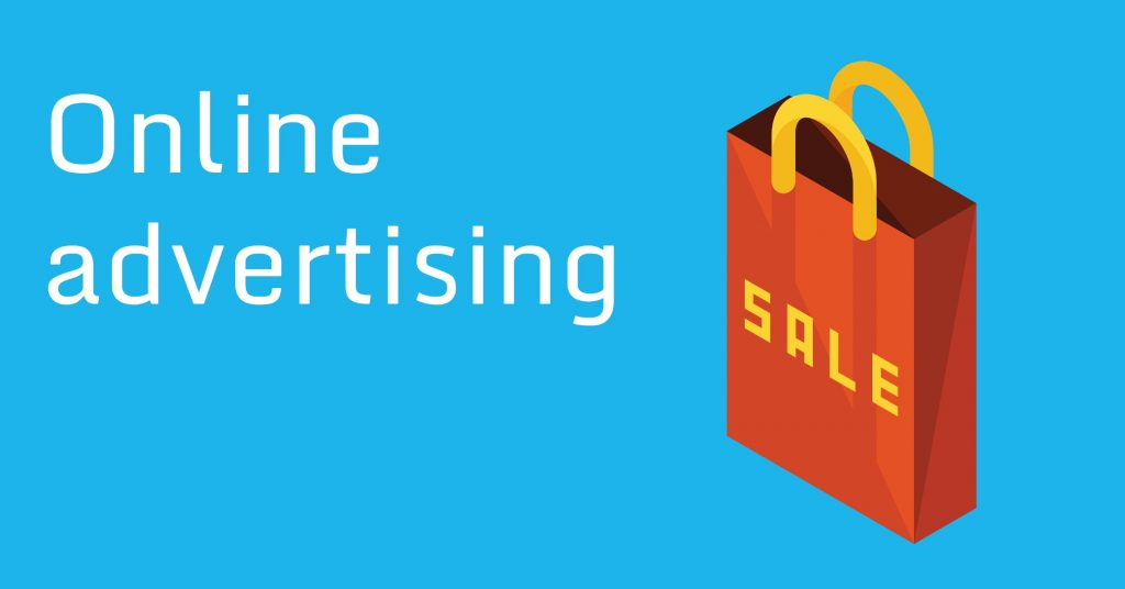"Picture of a shopping bag with the word ""sale"" on it and the words ""online advertising"""