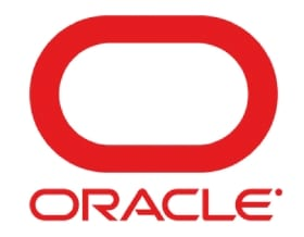 "Logo for Oracle featuring the word ""Oracle"" in red and a red oval"