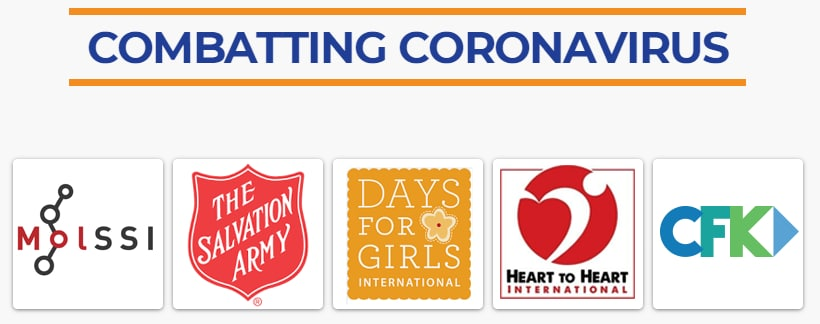 Logos of the finalists for the 2020 .Org Impact Award for Combatting Coronavirus including Molssi, The Salvation Army, Days for Girls, Heart to Heart and CFK