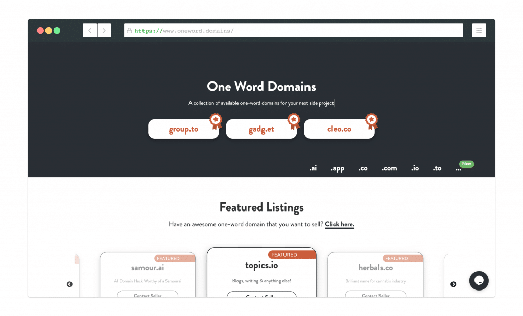 Screenshot of oneword.domains website