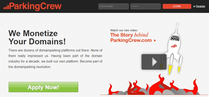 Screenshot of home page for ParkingCrew domain monetization service