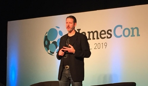 Picture of Paul Nicks keynote at NamesCon.